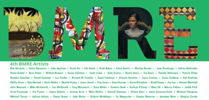 "Artwork detail: (L to R) Carol Barton, ""Forsythia;"" ShanYe Huang, ""Connection #2;"" Victoria Garofolo, ""La Señorita;"" Linda Syverson-Guild, ""Controlling the Spiral"""